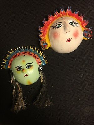2 Vintage Coconut Shell Face Masks Mexican Folk Art Hair Pigtails Hand Made