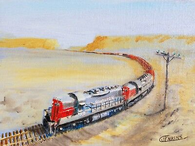 Original Oil Painting  Southern Pacific Railroad Freight Train SP