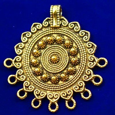 Carved Brass Bronze Round Pendant Bead 40x4mm L89924
