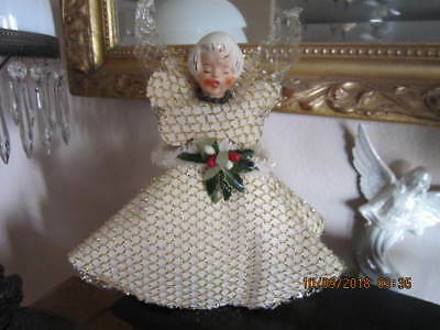 Antique German ANGEL Christmas Tree Topper Cardboard with Foil PORCELAIN Head 9""