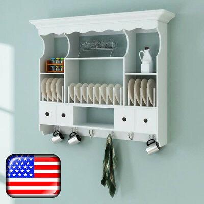 Wall Dish Rack White Wooden Kitchen Display Cabinet Cupboard Plate Holder MDF