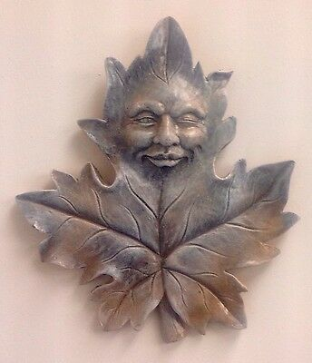 Antique Finished Maple Green Man Forest God Face Mask Wall Home Garden Decor