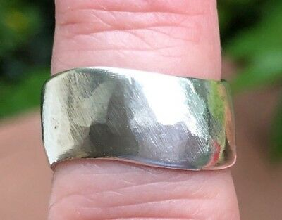 Hand Crafted Coin Silver Half Dollar Asymmetrical Hammered Band Ring