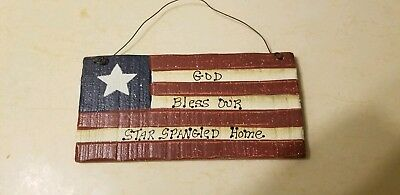 Primitive country Americana Star Spangled banner wall flag