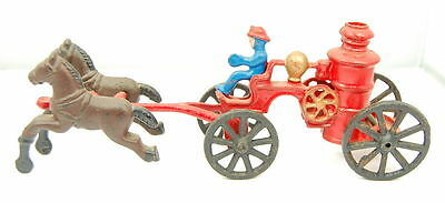 Vintage Cast Iron Horse Drawn Fire Wagon Carriage Antique Toy!