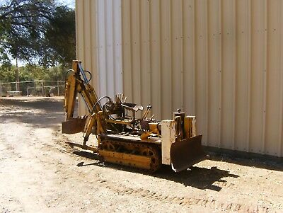 Vintage Tractor Agri-Trac Mini Dozer Back Hoe With Trailer 9 Horse B & S Engine