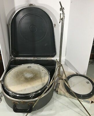 Vintage 1969 Ludwig Snare Drum Original Case, Stand, And A Remo Practice Pad