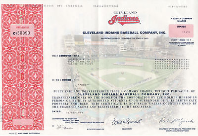 Cleveland Indians Baseball Company, Inc. Stock Certificate