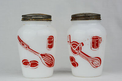 Pair ANCHOR HOCKING Fire King KITCHEN AIDS SHAKERS Milk Glass RED & WHITE Rare