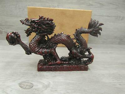 Red Resin Chinese Feng Shui Dragon Figurine Statue For Luck and Success