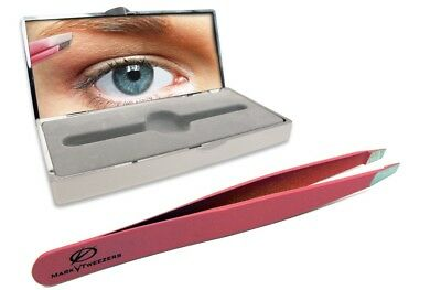 Slant Tip Brow Tweezers -Assorted Colors-  by Mark V - Swiss + Bonus Compact