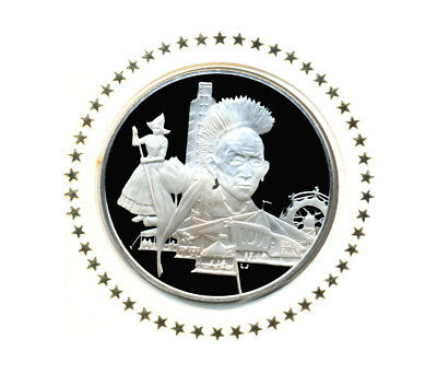 1976 State Of Iowa Franklin Mint Sterling Silver Bicentennial Medal w/FDC