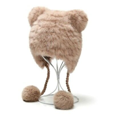 Women Winter Knitted Hat from Genuine Rex Rabbit Fur and Wool with Bear Ears