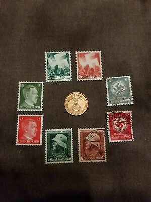 German Stamp and Coin Lot, 8 WWII Nazi Third Reich Stamps and 1 1937 A Coin