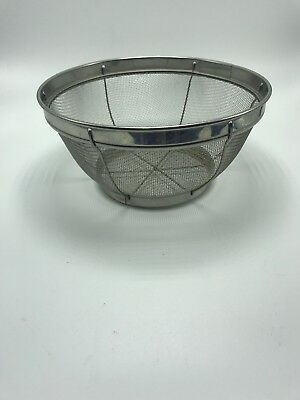 """Sifter Strainer Stainless Steel Round Deep Extra Large Vintage 8"""" x 4"""""""