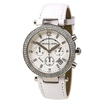 5b1a3181aaba Michael Kors Women s MK2277  Parker  Chronograph White Leather Watch