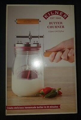 Kilner Glass Butter Churner in Giftbox - Make Homemade butter at home! DIY NEW!
