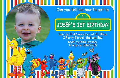 PERSONALISED ELMO SESAME St Cookie Monster Birthday Invitations Street Invite