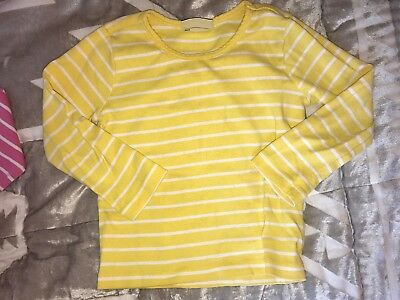 Hanna Andersson Very Gud Shirt Top Yellow White Stripes Long-Sleeve EUC 90 3T