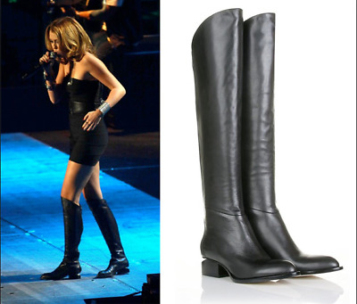 100% quality reasonable price new list ALEXANDER WANG 'SIGRID' BLACK LEATHER OVER THE KNEE BOOTS EU 39 US ...