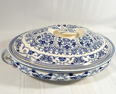 BOOTHS INDIAN ORNAMENT Lidded Casserole / Covered Dish / Bowl + 2 Plates TG & FB