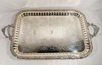 """LARGE Silver Plate Serving Tray 27 1/2"""" x 16 1/2""""  Monogram """" D """" Cavendish"""