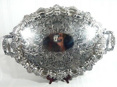 """Large POTOSI Baroque / Rococo Silver Plate 25""""  by 17""""  Serving Tray Scalloped"""