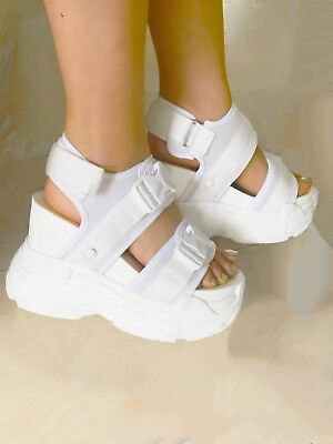 d7703975917 Anthony Wang PEACH White Buckle Strap Sandal Hidden Wedge Platform Sneaker