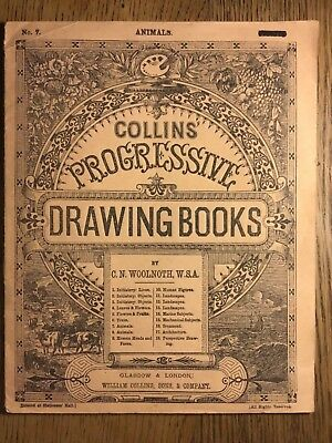 VICTORIAN CHILDRENS DRAWING BOOK circa 1890, COLLINS PROGRESSIVE for ANIMALS