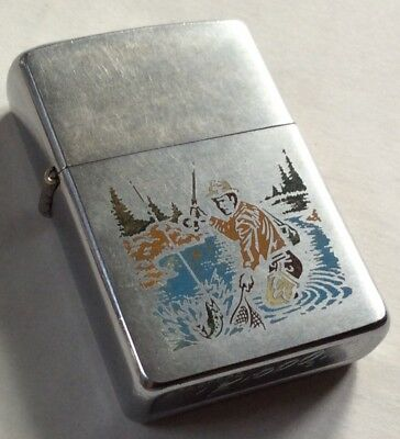 Vintage 1979 Fly Fishing Zippo Lighter color Sportsmans Series - Preowned
