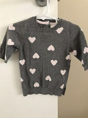 Grey Baby Girls Knit Loveheart Jumper Size 000