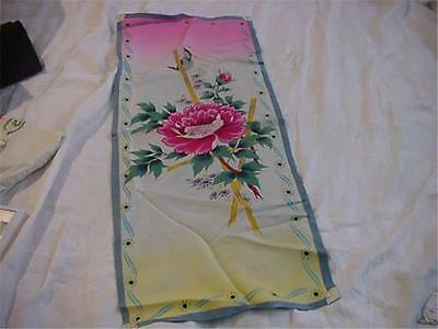 Gorgeous Painted or Printed Silk Panel Peony with Bird Bamboo Roses Elegant!