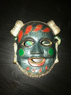 Vintage Asian Solid Brass Mask Hand Painted