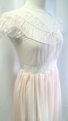 Vintage BEAU MONDE Nightgown Size 34 Beautiful Pink Lace and Nylon Gown