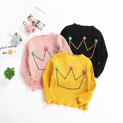 Cute Baby Girls Cotton T-shirt Blouse Toddler Kids Long Sleeve Candy Color Tops