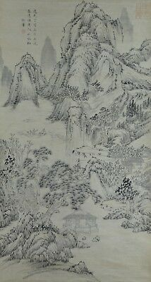 Excellent Hand Painted China Chinese Water Ink Scroll Painting Scholar Art