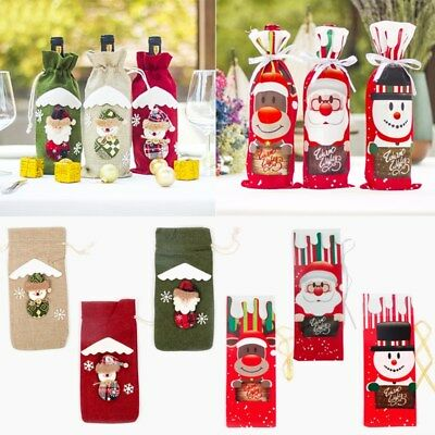 1PC Christmas Santa Snowman Elf Wine Bottle Cover Feast Table Decor for New Year