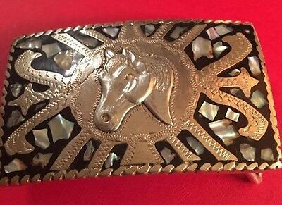 Vtg Western Heavy Handcrafted Silver & Abalone Cowboy Alpaca Horse Belt Buckle
