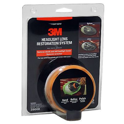 3M 39008 Headlight Lens Restoration System Kit, Buffing Polish and Plastic