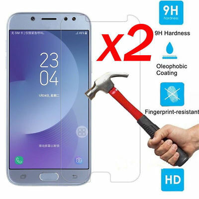2x 9H Tempered Glass Film Screen Protector For Samsung Galaxy J5 J7 Pro 2017