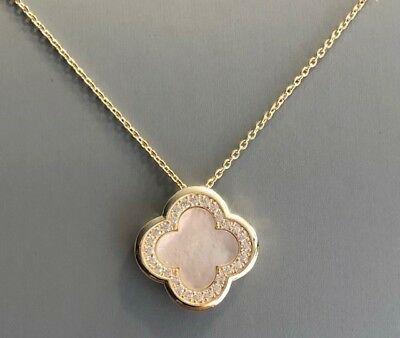Mother of pearl Clover Pendant Necklace  CZ Gold Rhodium Plated