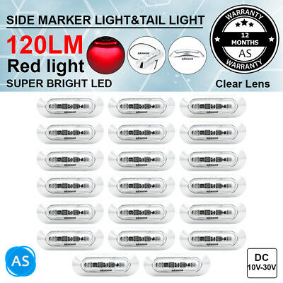 20X 12V 24V Clear Red 4 SMD LED Side Marker Truck Trailer Tail Light Clearance