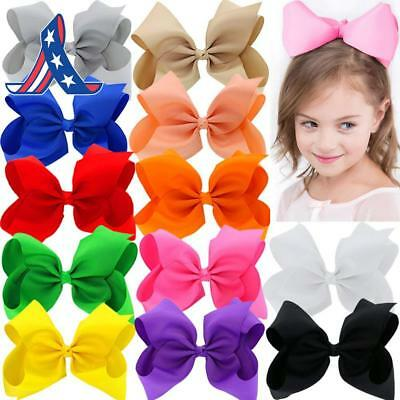 8 Inches Large Grosgrain Ribbon Hair Bows With Alligator Clips For Big Teens Gir