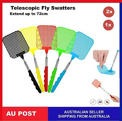 2x Telescopic Fly swatter Bug Extendable Home Office Pest Control Flyswatter