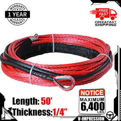 "3//16/"" X 50/' 5800 LBs GRAY Synthetic Fiber Winch Cable Rope For Jeep SUV ATV KFI"