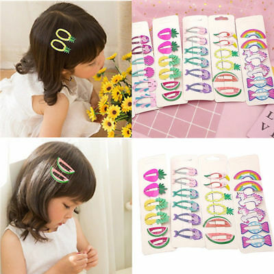 6x Hair Clips Snaps Hairpin Girls Baby Kids Hair Bow Accessories Gift Decor Set