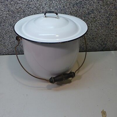 Pee Chamber Diaper Pot Pail with lid  White trimmed in black Porcelain enamel