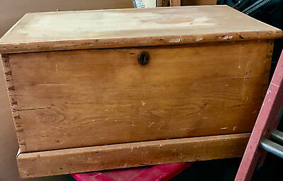 Antique English Pine Blanket Trunk circa 1890's