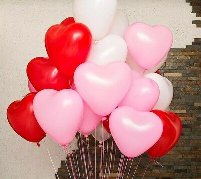 10pcs/lot Romantic 12 Inches Red Love Heart Latex Helium Balloons Valentines New