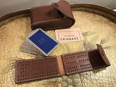 VTG 1940'S Travel Cribbage Game In Leather Case & Playing Cards Made BY J.S. NYC